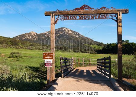 Poway, California - March 16, 2017:  The Iron Mountain Trailhead Signage.  This Popular Looped Trail