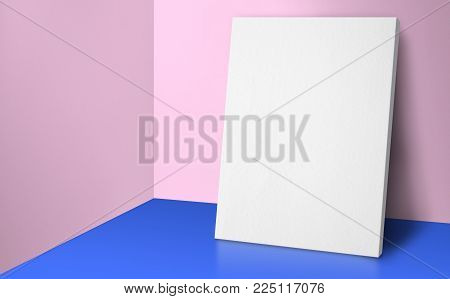 Blank poster at corner pastel pink and blue studio room with wall and floor background,Mock up studio room for display or montage of product for advertising on media,Business presentation.