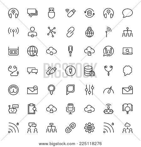 Network flat icon set. Single high quality outline symbol of info for web design or mobile app. Thin line signs for design logo, visit card, etc. Outline logo of graphic network