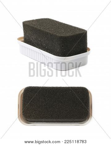 Black shoe shine sponge isolated over the white background , set of several different foreshortenings