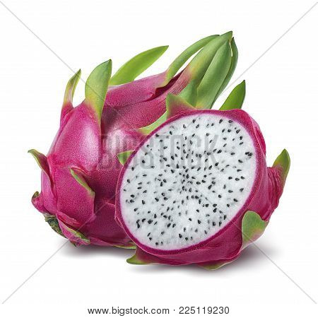 Dragon fruit or pitahaya isolated on white background as package design element
