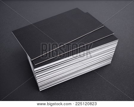 Close-up of business card on a black background. 3d rednering