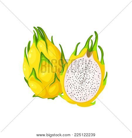 Summer tropical fruits for healthy lifestyle. Yellow dragon fruit, whole fruit and half. Vector illustration cartoon flat icon isolated on white.