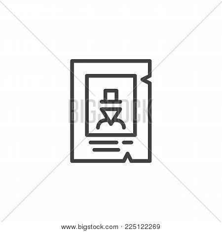 Western wanted poster line icon, outline vector sign, linear style pictogram isolated on white. Symbol, logo illustration. Editable stroke