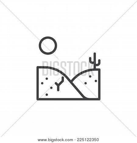 Desert landscape line icon, outline vector sign, linear style pictogram isolated on white. Dry desert under sun symbol, logo illustration. Editable stroke