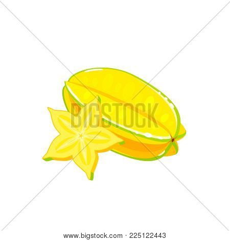 Summer tropical fruits for healthy lifestyle. Carambola, whole fruit and slice of starfruit. Vector illustration cartoon flat icon isolated on white.