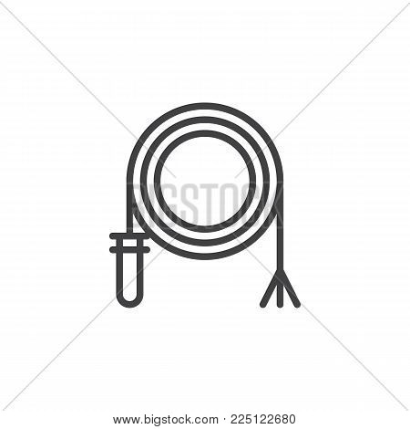 Rodeo whip line icon, outline vector sign, linear style pictogram isolated on white. Symbol, logo illustration. Editable stroke