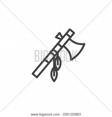 Indian battle ax with feathers line icon, outline vector sign, linear style pictogram isolated on white. Native Indian tomahawk symbol, logo illustration. Editable stroke