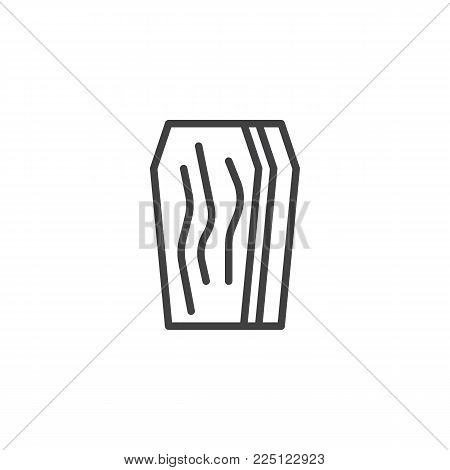 Coffin line icon, outline vector sign, linear style pictogram isolated on white. Casket symbol, logo illustration. Editable stroke
