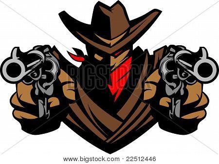 Vaqueiro mascote apontando armas