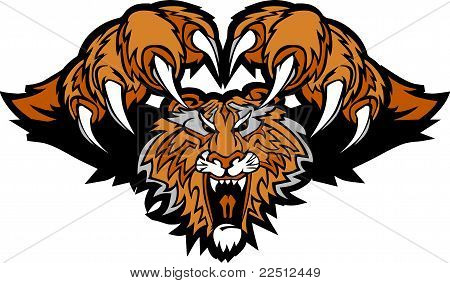 Tiger Mascot Pouncing Graphic