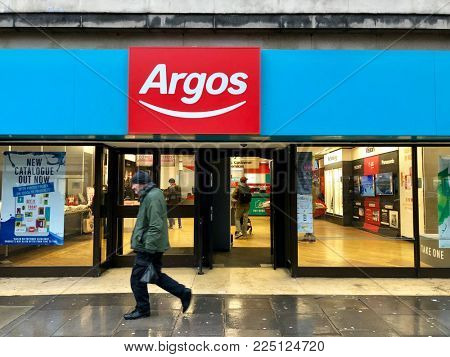 LONDON - FEBRUARY 3, 2018: Argos, a catalogue high street retailer, on Finchley Road, Swiss Cottage, London, UK.