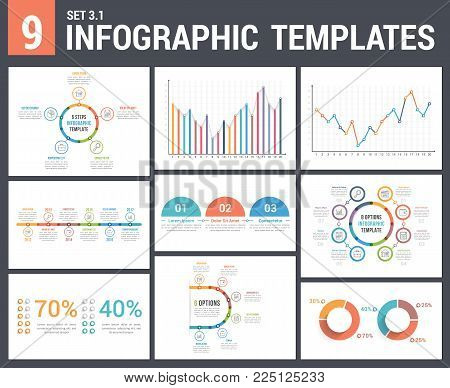 9 infographic templates, set 3, colors 1 - timeline, bar and line charts, pie chart, percents, steps/options, circle diagram, vector eps10 illustration