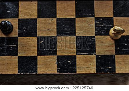 Chess photographed on a chessboard/ closeup conceptual image of win win situation