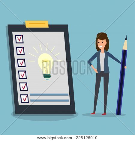 Happy businesswoman holding pen il looking at questionnaire with idea bulb on clipboard. Concept illustration of customer testimonials, business, vote, feedback, review support, rating.