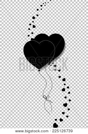 Black silhouette of couple heart shaped helium balloons bounded together and vertical wave made of  many little hearts confetti isolated on transparent. Vector illustration, icon, logo, clip art.