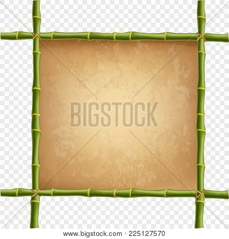 Wooden frame made of green bamboo sticks with retro paper blank or canvas. Worn papyrus template, old grunge poster with space for text. Vector clip art isolated on transparent background.