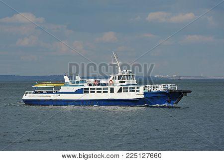 Old motorboat in Black sea, Odessa, Ukraine