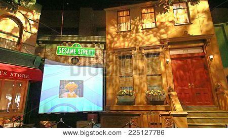 OSAKA, JAPAN - FEB 03, 2018 : Photo of Sesame street studio set at Universal Studios Japan.