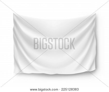Wide horizontal standard, banner, streamer, mockup, isolated. Outdoors information ridgepole for inscriptions, slogans, mottos and so on. Vector illustration of canvas