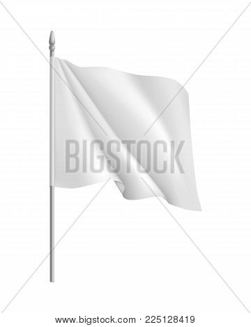 Flag mockup. Curled waving symbol streamer, template, isolated. Outdoors information ridgepole for inscriptions, slogans, mottos and so on. Vector illustration of flag