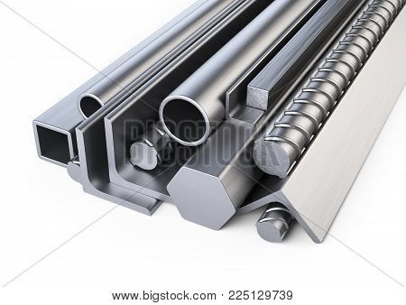 Steel profiles and pipes heap. Warehouse for construction materials. Isolated over white background 3d illustration.