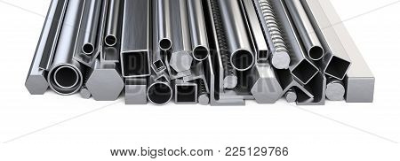 Metalick profiles and pipes stack. Warehouse for construction materials. Isolated over white background 3d illustration.