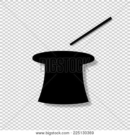Black Silhouette Of Magic Cylinder Top Hat And Wand Isolated On Transparent Background. Vector Illus