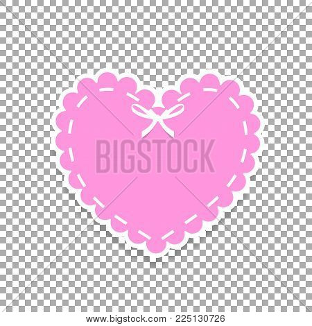 Rose Paper Cut Heart Sticker With White Lacing, Ribbon And Copy Space. Heart Stamp For Baby, Valenti