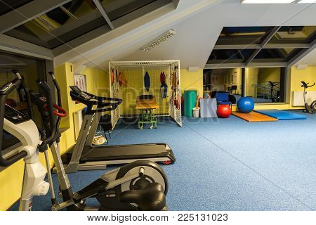 WISLA, POLAND - OCTOBER 23, 2105: Gym and fitness room at the rehabilitation center for the disabled in Wisla, Poland