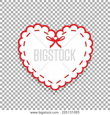 White paper cut heart sticker with white lacing, ribbon and copy space. Heart stamp for baby, valentines or love wedding scrapbooking design isolated on transparent background. Vector icon, clip art.