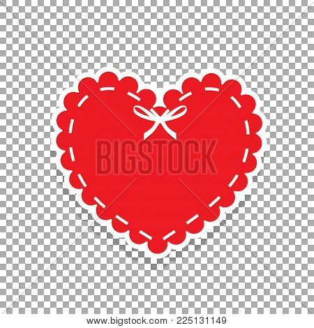 Red paper cut heart label with white lacing and ribbon. Sticker or emblem with lace, bow and copy space. Heart seal stamp for scrapbooking design, isolated on transparent background. Vector clip art.