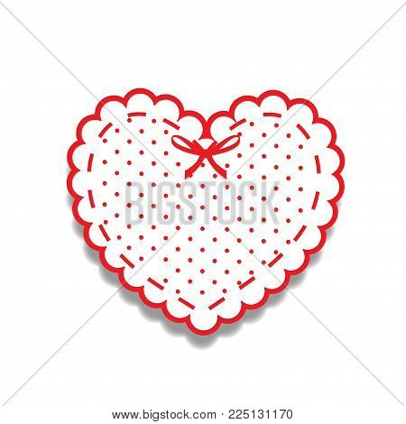 White and red paper cut lacy girly heart, sticker with ribbon and polka dots pattern. Heart stamp for baby design or scrapbook valentines or wedding isolated on white. Vector illustration, clip art. poster