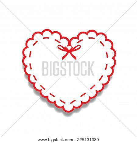 White And Red Paper Cut Lacy Girly Heart, Sticker With Ribbon And Copy Space. Heart Stamp For Baby,