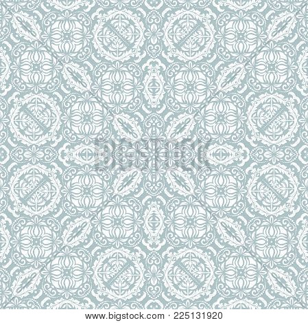Orient vector classic pattern. Seamless abstract light blue and white background with vintage elements. Orient background