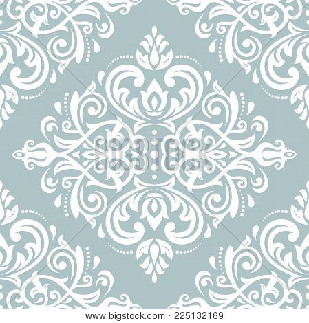 Classic seamless vector pattern. Damask orient blue and white ornament. Classic vintage background