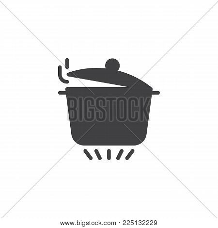 Pan with open cover on gas stove icon vector, filled flat sign, solid pictogram isolated on white. Boiling saucepan on kitchen stove symbol, logo illustration.