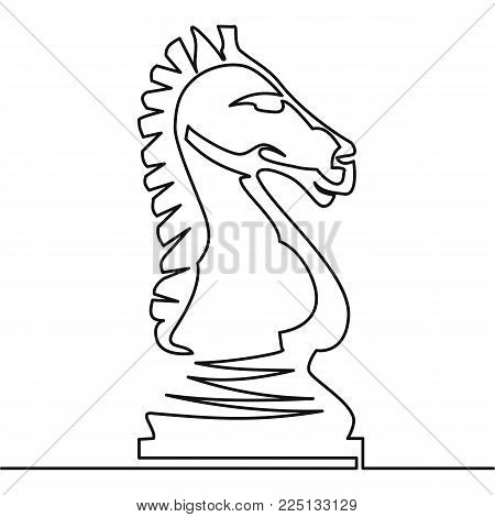 Chess knight vector continuous line drawing chess horse