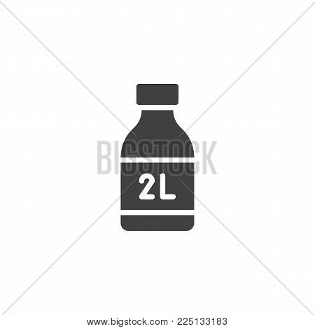 Two liter bottle icon vector, filled flat sign, solid pictogram isolated on white. Symbol, logo illustration.