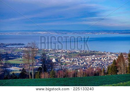 Eggersriet, Switzerland, 2018.01.01.: View from Eggersrieter Höhe over a part of Lake Constance.