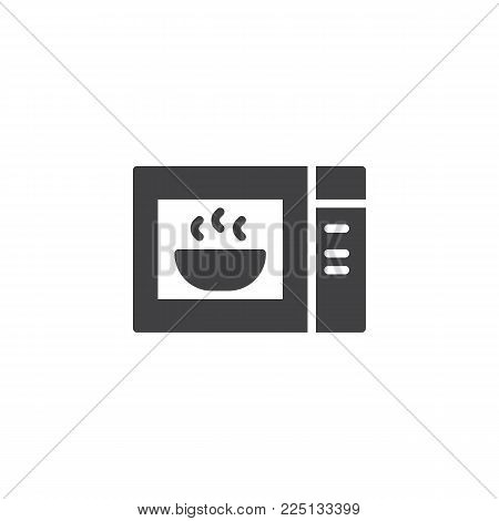 Microwave oven with plate of soup icon vector, filled flat sign, solid pictogram isolated on white. Symbol, logo illustration.