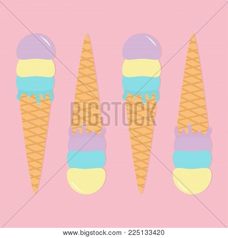 Ice cream wafer cone icon set. Pastel color. Hello summer time. Cute icecream pattern. Kawaii cartoon food. Flat design lay. Yellow blue violet color. Pink surface background. Melted drops. Vector
