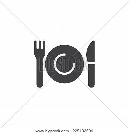 Plate, knife and fork icon vector, filled flat sign, solid pictogram isolated on white. Tableware cutlery symbol, logo illustration.