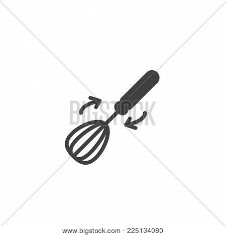 Whisk and arrows icon vector, filled flat sign, solid pictogram isolated on white. Kitchenware whisking beater symbol, logo illustration.