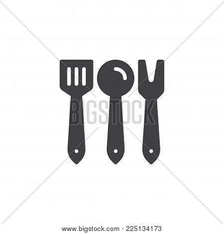 Kitchen cutlery icon vector, filled flat sign, solid pictogram isolated on white. Culinary spatula ladle and fork symbol, logo illustration.