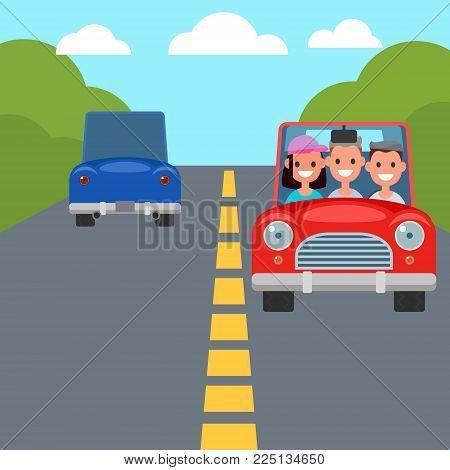Flat Design Car Driving Characters. Car sharing. Vector illustration