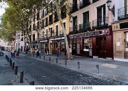 Madrid, Spain - October 15, 2017:  Street scene of the Square of Santa Ana. It is located in historic the Quarter of the Letters in centre of Madrid