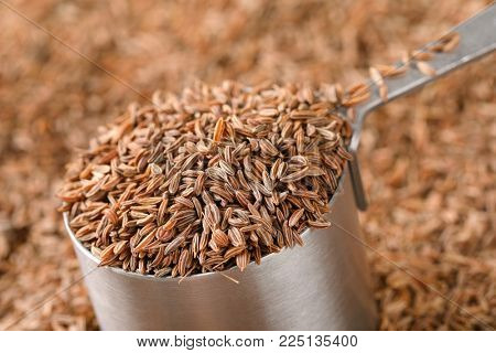 saucepan of caraway seeds - full frame