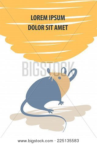 Concept image of symbol chinese happy new year 2020 on color background.Wild rat.Freehand drawn silhouette small mouse.Lunar horoscope sign.Vector sketch illustration.