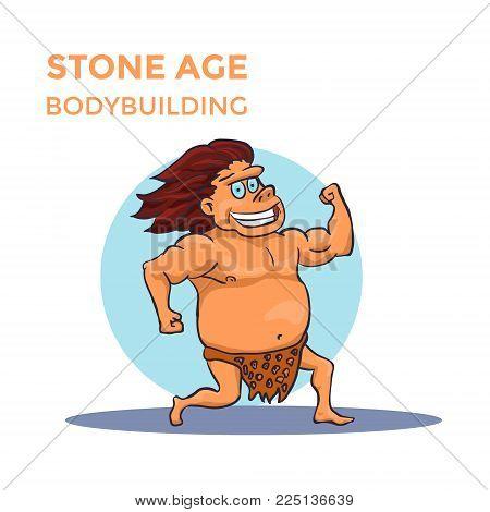 Hand Drawn Cartoon Stone Age Cave Man Shows His Biceps. Vector illustration